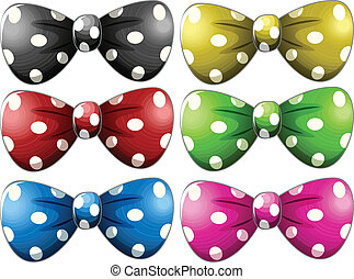 Polkadot bow tie - Illustration of different polka dot bow...