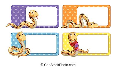 Polkadot labels with snakes