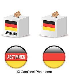 poll, ドイツ, 投票, 選挙, 投票, 箱, /