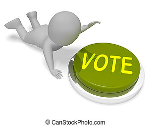 poll, ボタン, 3d, レンダリング, 投票, 投票, ショー