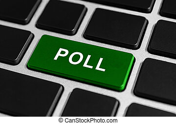 poll, 단추, 통하고 있는, 키보드
