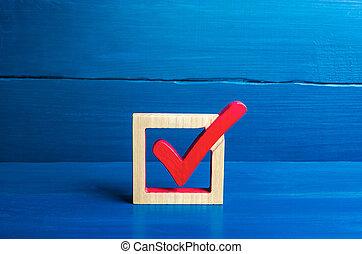 poll., freedoms., problem., droits, marque, faire, rouges, résoudre, approbation, elections., social, symbole, lawmaking., concept, arrière-plan., chèque, choix, bleu, mieux, démocratique, vote