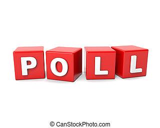 poll, napis, kostki, czerwony