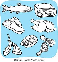 pollame, carne, fish, illustrazione