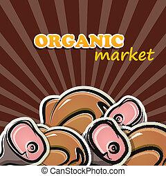 pollame, concetto, organico, meat., illustrazione, cibo, vettore