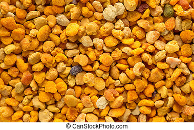 Closeup view of pollen grains. horizontal composition