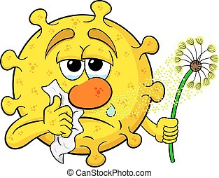 pollen with hay fever - vector illustration of a pollen with...