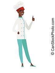 pollice, abbandono, chef, vettore, cuoco, illustration.