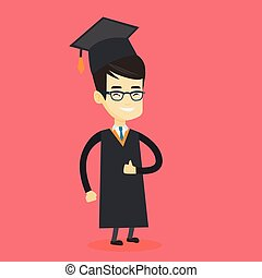 pollice, abbandono, laureato, vettore, illustration.