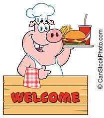 pollice, cibo, sopra, carattere, su, digiuno, maiale, chef, legno, presa a terra, segno, vassoio, cartone animato, dare, mascotte