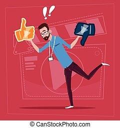 pollice, creatore, blogger, moderno, vlog, su, giù, video, presa, canale, uomo