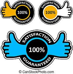 pollice, etichette, guaranteed, su, soddisfazione, vettore
