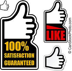 pollice, guaranteed, su, etichetta, soddisfazione, vettore