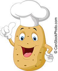 pollice, patata, abbandono, chef, cartone animato