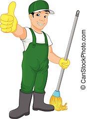 pollice, servizio, pulizia