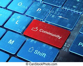 pollice, sociale, su, comunità, computer, fondo, tastiera, concept:, rete