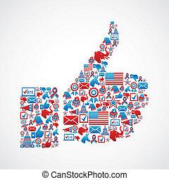 pollice, stati uniti, icone, su, elezioni, mano
