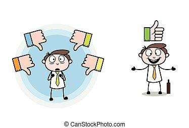 pollice, &, vectors, su, giù, professionale, uomo affari, cartone animato