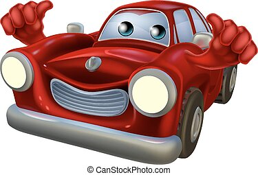 pollici, cartone animato, automobile, mascotte