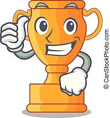 pollici, cartone animato, trofeo, tazza, con, stella, su, cyan