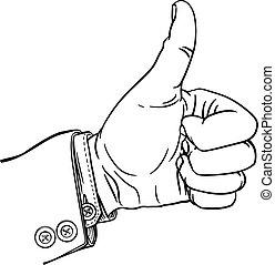 pollici, gesto, dita, fuori, pollice, pugno, su, mano
