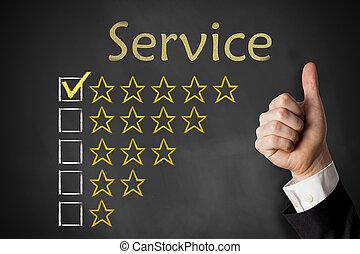 pollici, servizio, valutazione, stelle, lavagna