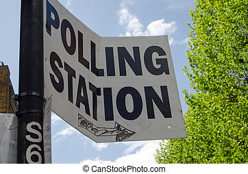 Polling Station sign, UK Election