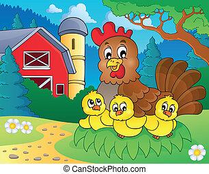 pollo, 5, tema, immagine