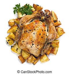 pollo, arrostire patate