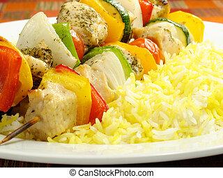 pollo, arroz, kebab, azafrán