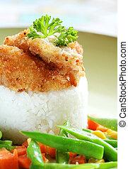 pollo, arroz, topping