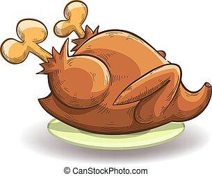 pollo asado, en, un, placa