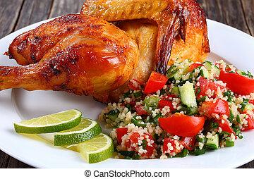 pollo asado parrilla, apetitoso, jugoso, mitad