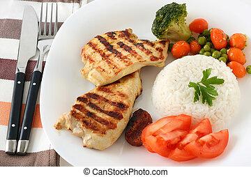 pollo asado parrilla, arroz