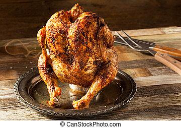 pollo asado parrilla, cerveza, casero, lata