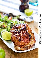 pollo, asado parrilla, ensalada
