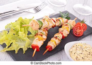 pollo asado parrilla, kebab