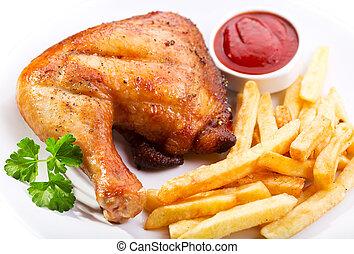 pollo asado parrilla, pierna