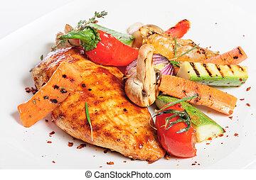 pollo asado parrilla, vegetales, filete