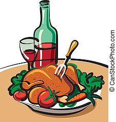 pollo, asado, vino rojo
