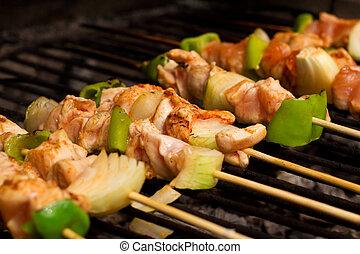 pollo, barbeque, verdura, carne