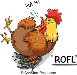 pollo, blanco, reír