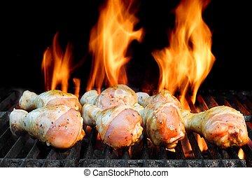 pollo, caldo, griglia, gambe, bbq