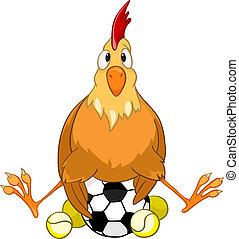 pollo, carácter, caricatura
