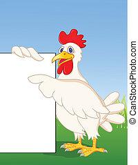 pollo, caricatura, con, muestra en blanco