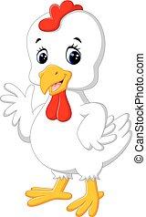 pollo, caricatura, gallo