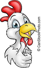 pollo, cartone animato, gallo