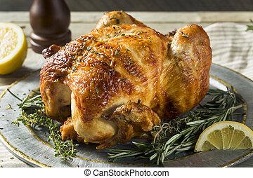 pollo, casalingo, erbe, rotisserie