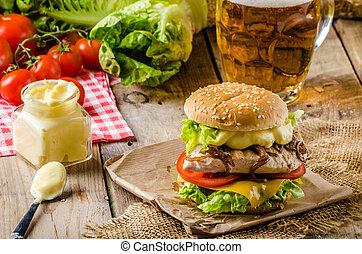 pollo, cerveza fría, hamburguesa