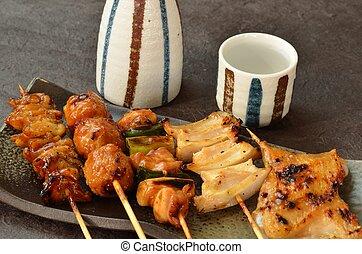 pollo, char-broiled, yakitori